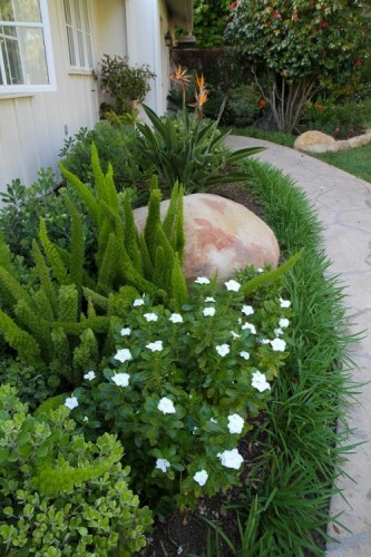 Garden design with walkway for Santa Barbara landscape architecture